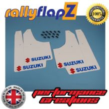 SWIFT SPORT 3RD GEN ZC32S  2012-17 WHITE MUDFLAPS (Logo Red & Blue)
